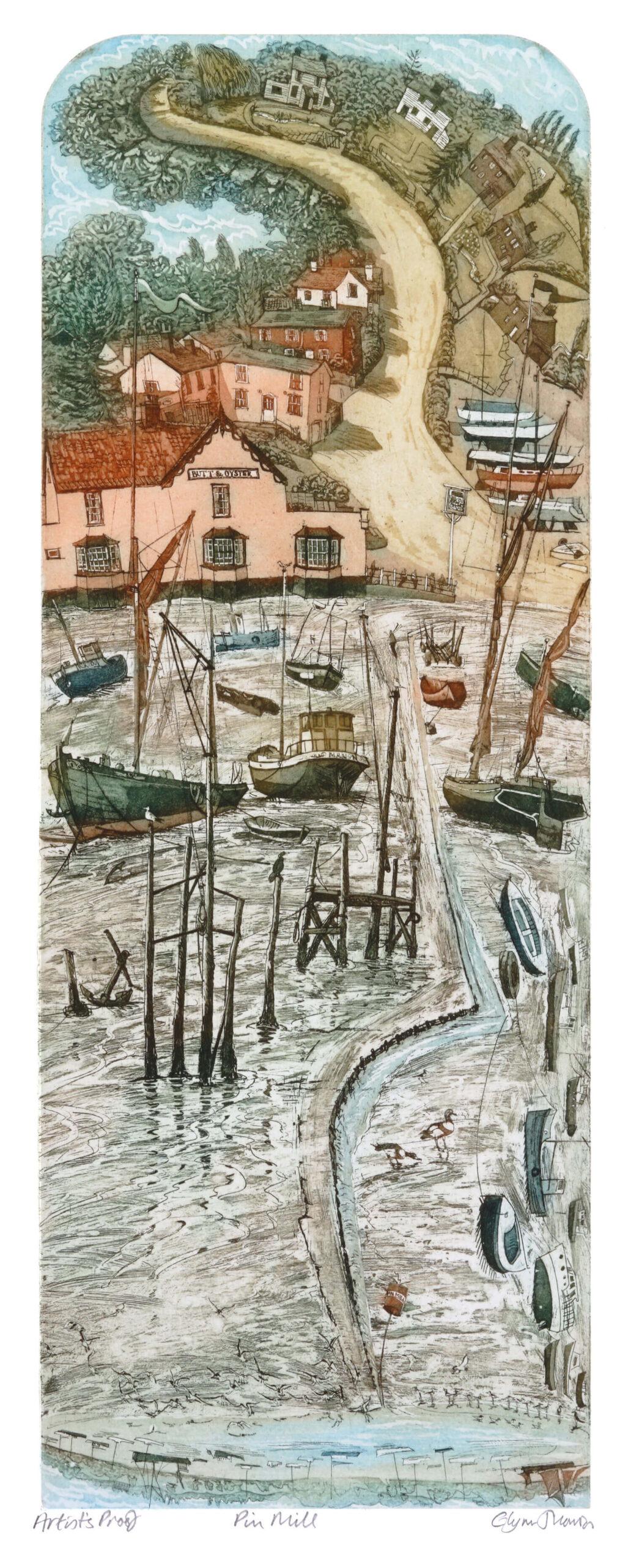 Pin Mill, an etching by Glynn Thomas